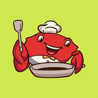 Dessin animé animal design chef crabe mascotte mignonne