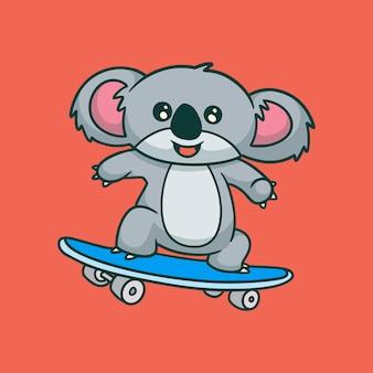 Dessin animé animal design koala skateboard mignon mascotte logo