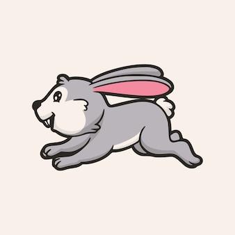 Dessin Animé Animal Design Lapin Heureux Et Sautant Logo Mascotte Mignon Vecteur Premium