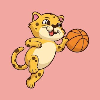 Dessin animé animal design léopard jouant au basketball logo mascotte mignon