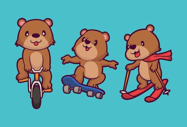 Dessin animé animal design ours vélo, planche à roulettes et surf sur neige illustration mignonne mascotte