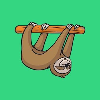 Dessin animé animal design paresseux suspendu mascotte mignonne