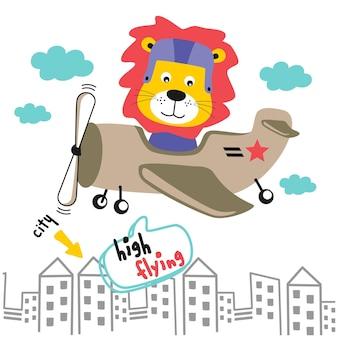Dessin animé animal drôle de lion et d'avion