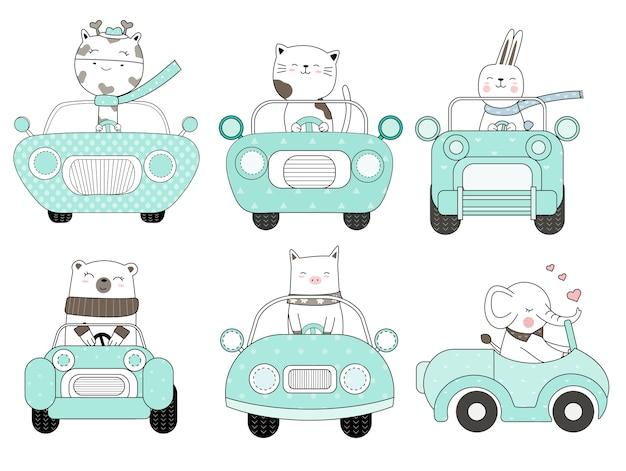 Dessin animé animal mignon avec style de voiture dessiné à la main