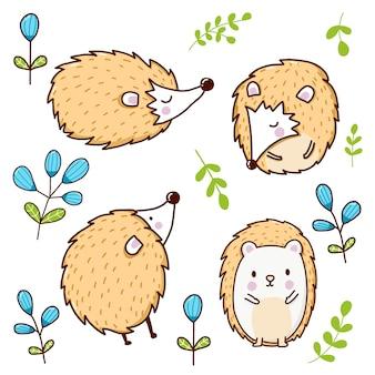 Dessin animé animal porc-épic mignon pour les enfants