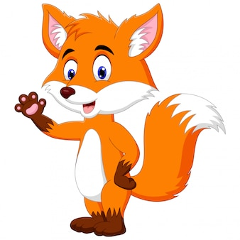 Un dessin animé animal renard debout et agitant la main