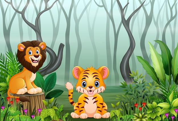 Dessin animé animal sauvage dans la forêt avec des branches d'arbres secs