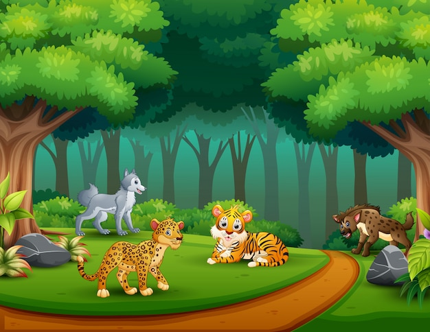 Dessin animé animal sauvage dans la jungle