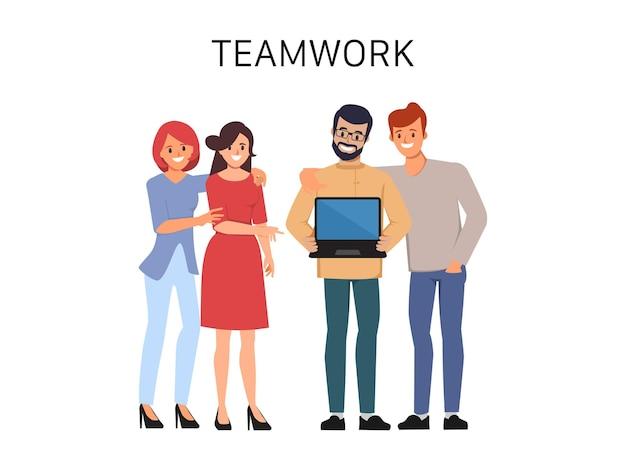 Dessin animé d'animation de personnage plat de travail d'équipe entreprise