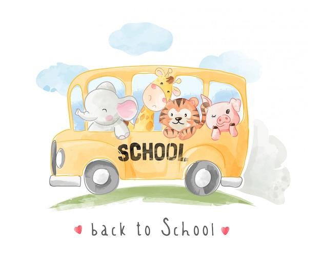 Dessin animé, animaux, amis, sur, autobus scolaire, illustration
