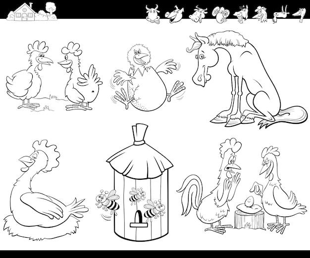 Dessin animé, animaux de ferme, ensemble, livre coloration, page