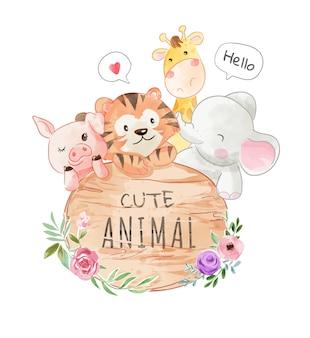 Dessin animé animaux frienship avec bois signe illustration