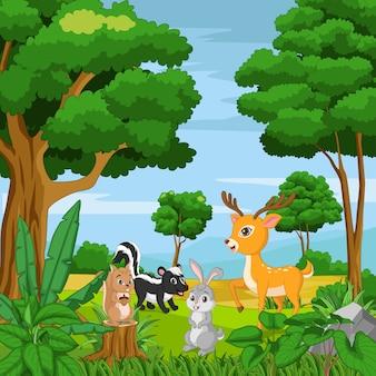 Dessin animé d'animaux heureux dans la jungle