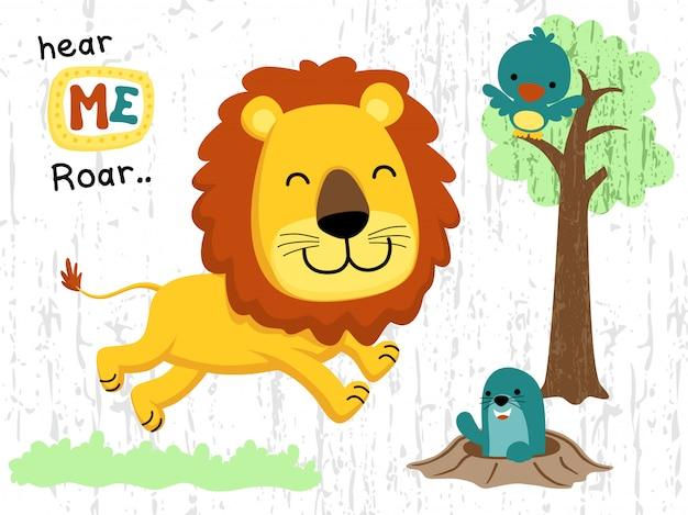Dessin animé animaux heureux dans la jungle
