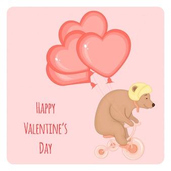 Dessin animé avec animaux et lettrage pour la saint valentin