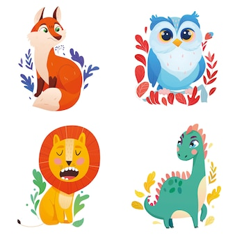 Dessin animé, animaux, lion, renard, dinosaure, hibou, blanc