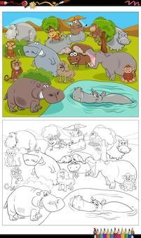 Dessin animé animaux personnages groupe page de livre de coloriage