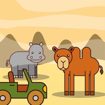 Dessin animé animaux safari