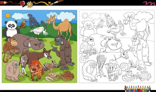 Dessin animé, animaux sauvages, caractères, groupe, livre coloration, page
