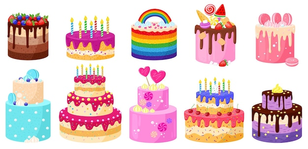 Dessin animé anniversaire fête de vacances célébration de délicieux gâteaux. joyeux anniversaire chocolat et fraise bougies gâteaux vector illustration set. desserts décorés d'anniversaire