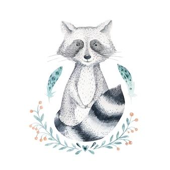 Dessin animé aquarelle bébé mignon raton laveur vecteur animal avec des fleurs.