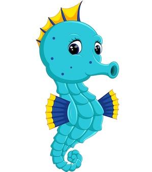 Dessin animé aquarelle seahorse
