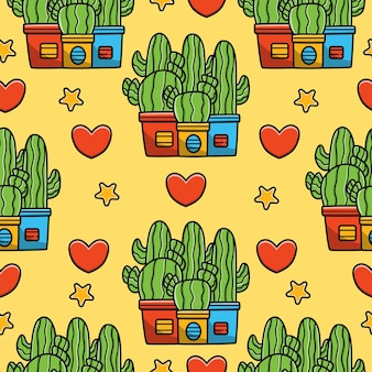 Dessin animé arbre cactus doodle modèle sans couture