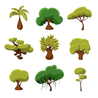Dessin animé arbres, feuilles et buissons mis illustration vectorielle
