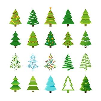 Dessin animé arbres de noël abstraites avec cadeaux et boules vector ensemble