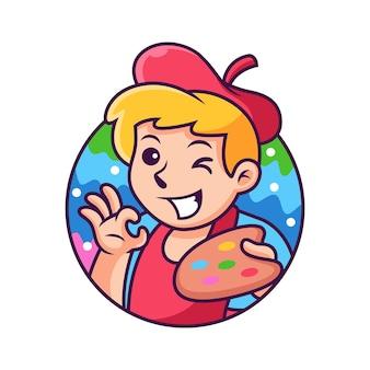 Dessin animé d'artiste avec une pose mignonne. icône illustration. concept d'icône de personne isolé