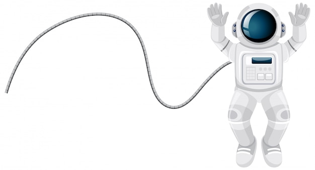 Dessin animé astronaute sur fond blanc