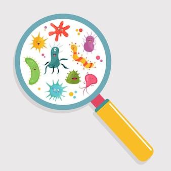 Dessin animé de bactéries mignonnes sous une loupe.