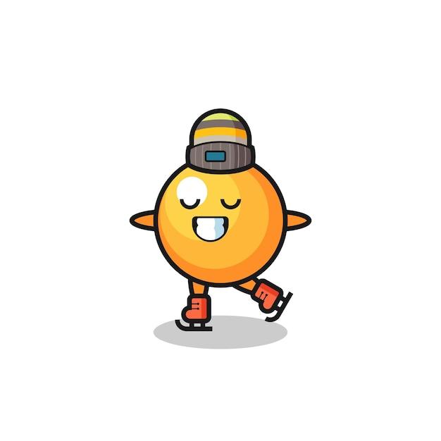 Dessin animé de balle de ping-pong en tant que joueur de patinage sur glace faisant des performances, design de style mignon pour t-shirt, autocollant, élément de logo