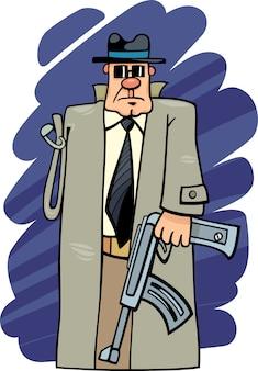 Un dessin animé de bandit armé