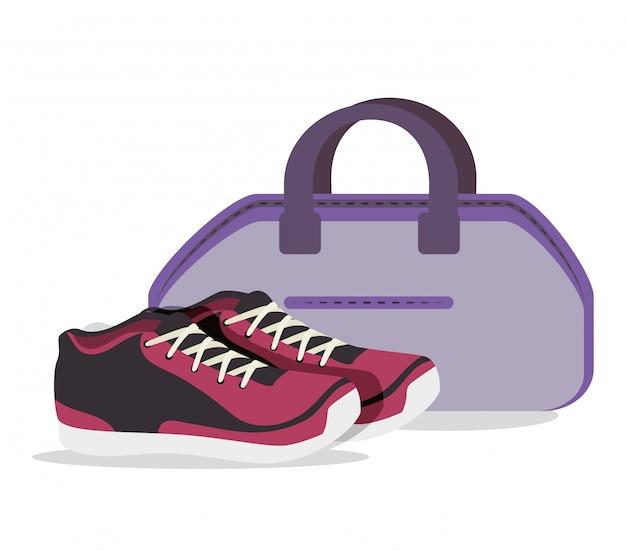 Dessin animé baskets fitness sport elements design