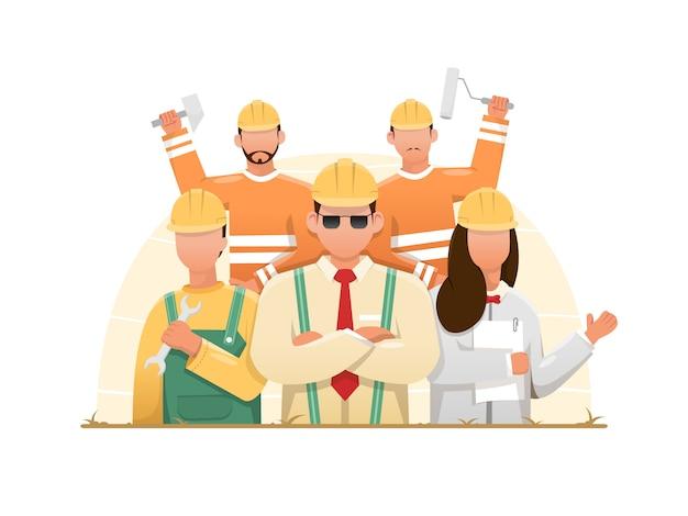Dessin animé, de, bâtiment, ouvriers construction, groupe