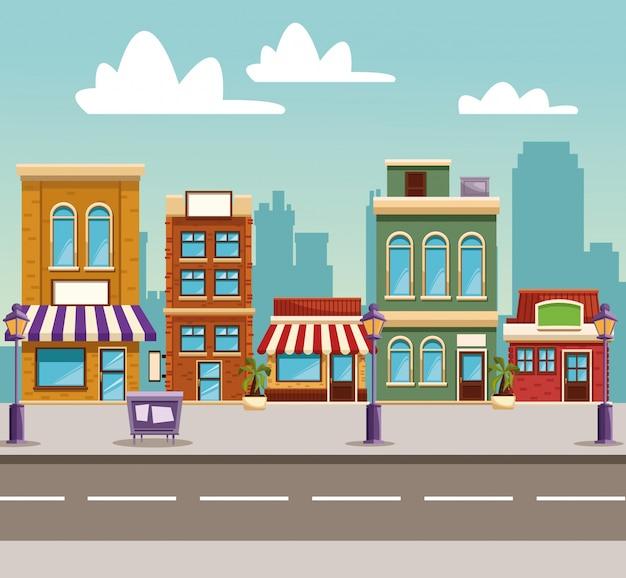 Dessin animé de bâtiments de ville
