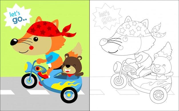 Dessin animé de beaux animaux sur la moto