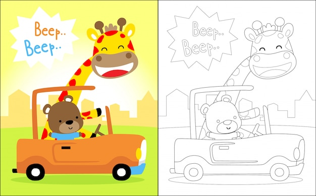Dessin animé de beaux animaux sur une voiture