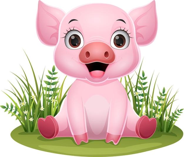 Dessin animé bébé cochon assis dans l'herbe