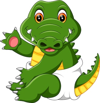 Dessin animé de bébé crocodile