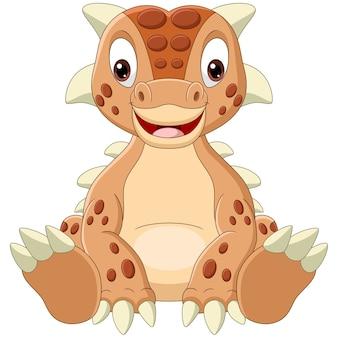 Dessin animé bébé dinosaure ankylosaurus assis