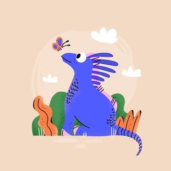 Dessin animé bébé dinosaure illustré
