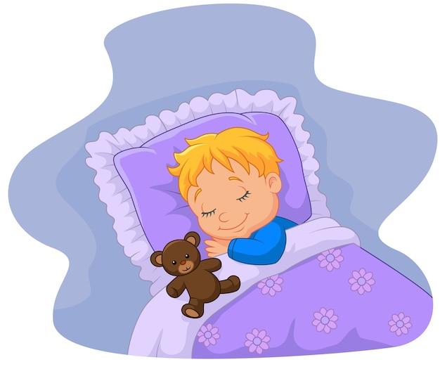 Dessin animé bébé dormir avec ours en peluche