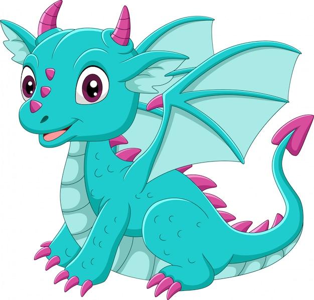 Dessin animé bébé dragon bleu assis
