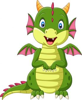 Dessin animé bébé dragon sur fond blanc