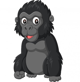 Dessin animé bébé gorille sur fond blanc