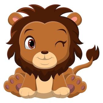 Dessin animé bébé lion assis avec des yeux clignotants