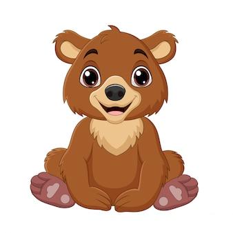 Dessin animé bébé ours brun assis
