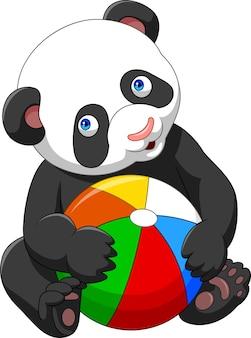 Dessin animé bébé panda jouant avec une balle colorée